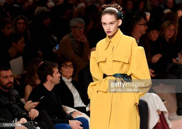 Model presents a creation for Fendi's Women Fall - Winter 2020 fashion collection on February 20, 2020 in Milan.