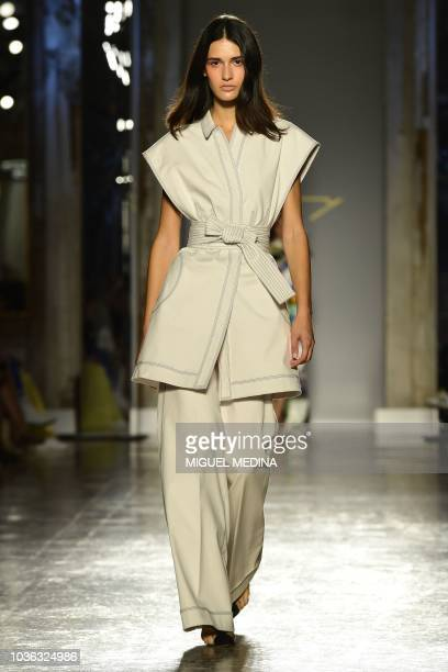 A model presents a creation for Genny fashion house during the Women's Spring/Summer 2019 fashion shows in Milan on September 20 2018