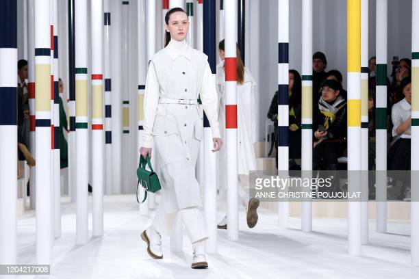 A model presents a creation for Hermes during the Women's FallWinter 20202021 ReadytoWear collection fashion show in Paris on February 29 2020