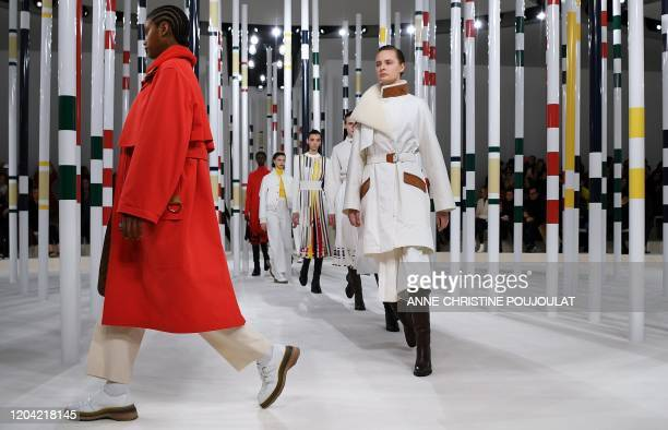 TOPSHOT A model presents a creation for Hermes during the Women's FallWinter 20202021 ReadytoWear collection fashion show in Paris on February 29 2020