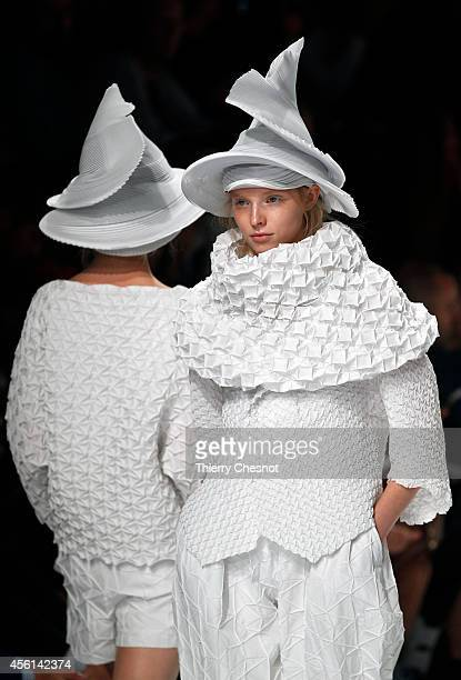 Model presents a creation for Issey Miyake during the 2015 Spring/Summer readytowear collection fashion show on September 26 2014 in Paris France