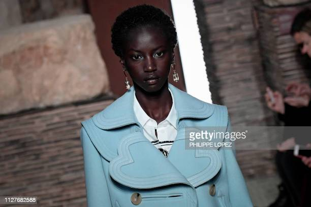 A model presents a creation for Lanvin during the FallWinter 2019/2020 ReadytoWear collection fashion show in Paris on February 27 2019