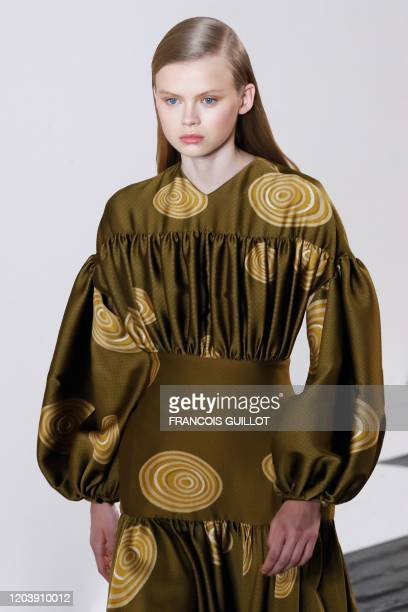 Model presents a creation for Loewe during the Women's Fall-Winter 2020-2021 Ready-to-Wear collection fashion show in Paris, on February 28, 2020.