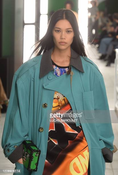 Model presents a creation for Louis Vuitton's during the women's Spring/Summer 2020/2021 collection fashion shows in Paris on October 6, 2020.