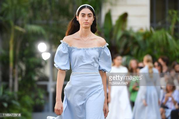 Model presents a creation for Luisa Beccaria's Women's Spring Summer 2020 collection in Milan on September 19, 2019.