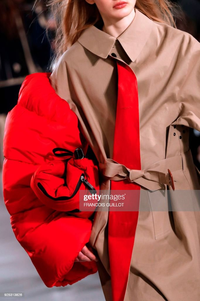 TOPSHOT - A model presents a creation for Maison Margiela during the 2018/2019 fall/winter collection fashion show on February 28, 2018 in Paris. /