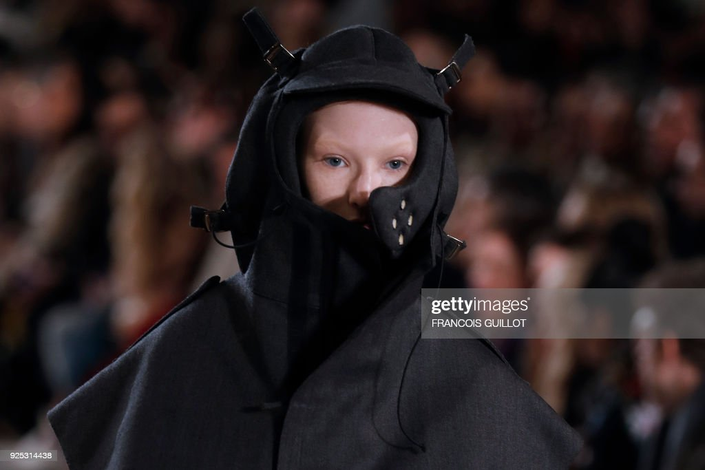 A model presents a creation for Maison Margiela during the 2018/2019 fall/winter collection fashion show on February 28, 2018 in Paris. /