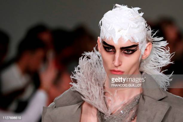 A model presents a creation for Maison Margiela during the FallWinter 2019/2020 ReadytoWear collection fashion show in Paris on February 27 2019
