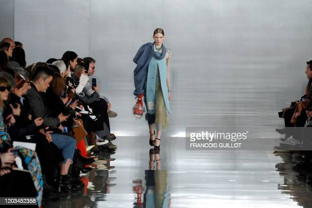 Model presents a creation for Maison Margiela during the Women's Fall-Winter 2020-2021 Ready-to-Wear collection fashion show in Paris, on February...