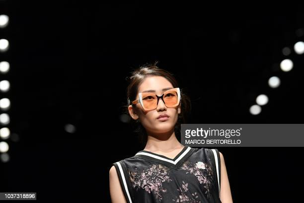 A model walks the runway at the Marco De Vincenzo show during Milan Fashion Week Spring/Summer 2019 on September 21 2018 in Milan Italy