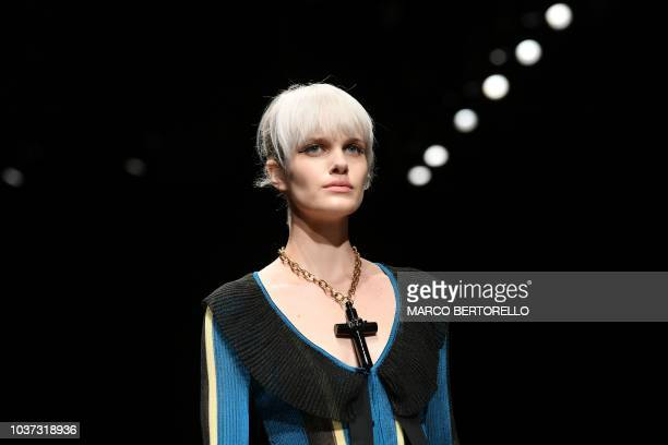 A model presents a creation for Marco De Vincenzo fashion house during the Women's Spring/Summer 2019 fashion shows in Milan on September 21 2018