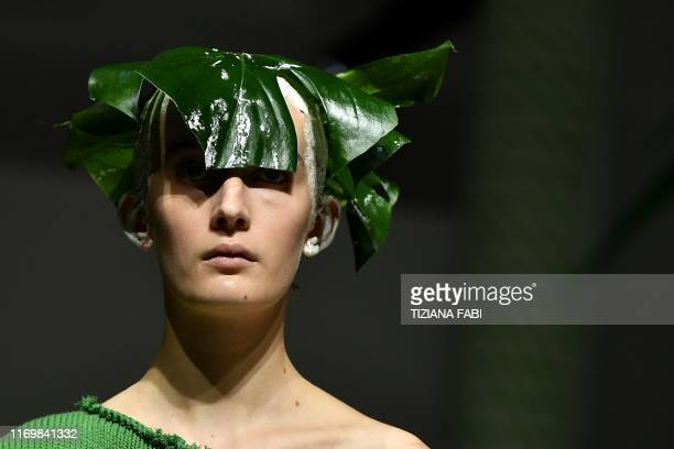 A model presents a creation for Marni's Women's Spring Summer 2020 collection in Milan on September 20 2019