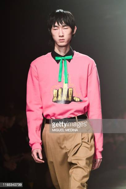 A model presents a creation for MSGM as part of the men's fall/winter 2020/21 fashion collections in Milan on January 12 2020