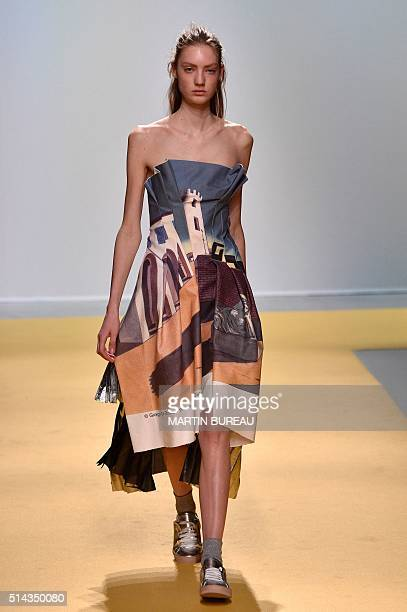 A model presents a creation for OFFWHITE during the 20162017 fall/winter readytowear collection fashion show on March 8 2016 in Paris AFP PHOTO /...