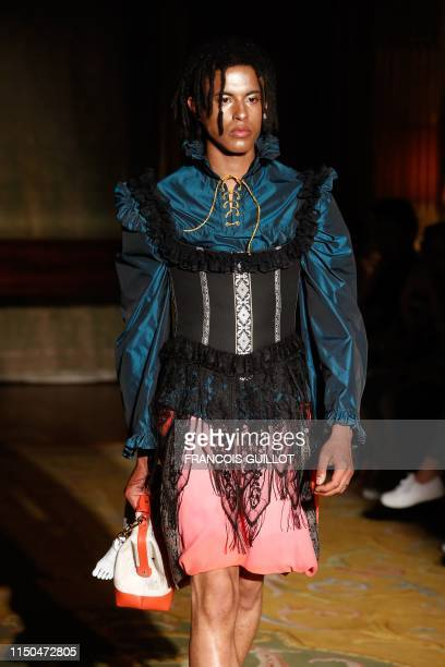A model presents a creation for Palomo Spain during the Men's SpringSummer 2020 collection fashion show on June 18 in Paris