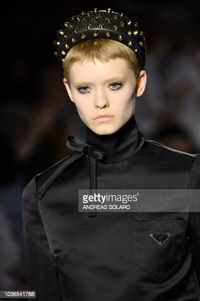 A model presents a creation for Prada fashion house during the Women s  Spring Summer 2019 cb4e10cdbd33f
