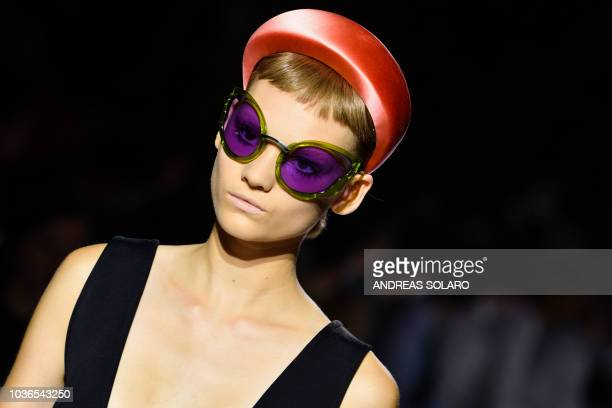 Model presents a creation for Prada fashion house during the Women's Spring/Summer 2019 fashion shows in Milan, on September 20, 2018.