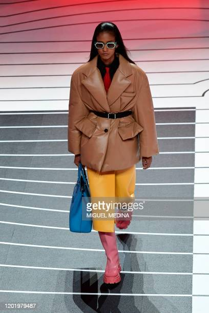 Model presents a creation for Prada's Women Fall - Winter 2020 fashion collection on February 20, 2020 in Milan.