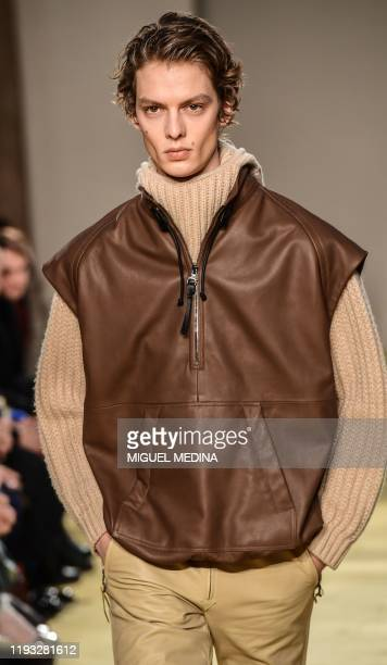 A model presents a creation for Salvatore Ferragamo as part of the men's fall/winter 2020/21 fashion collections in Milan on January 12 2020