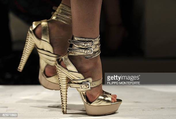 Model presents a creation for Salvatore Ferragamo fashion house as part of the women's Spring/Summer 2009 ready-to-wear collections of the fashion...