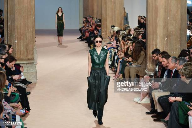 A model presents a creation for Salvatore Ferragamo's Women Fall Winter 2020 fashion collection on February 22 2020 in Milan