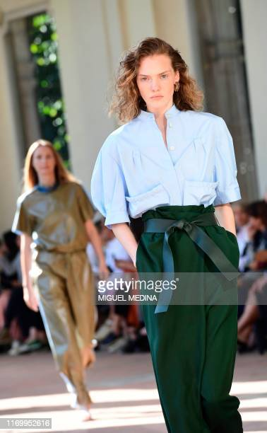 A model presents a creation for Salvatore Ferragamo's Women's Spring Summer 2020 collection in Milan on September 21 2019