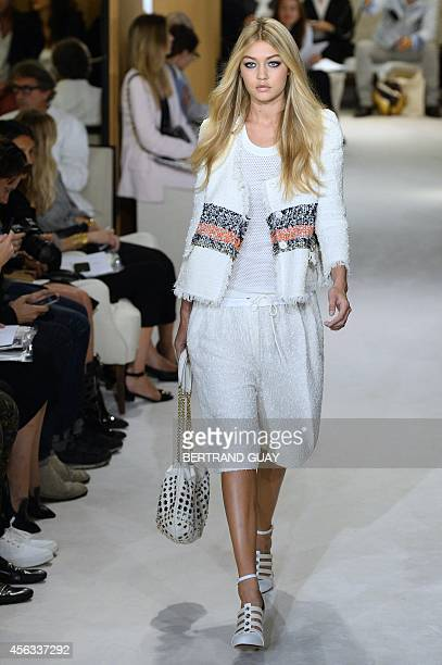 A model presents a creation for Sonia Rykiel during the 2015 Spring/Summer readytowear collection fashion show on September 29 2014 in Paris AFP...