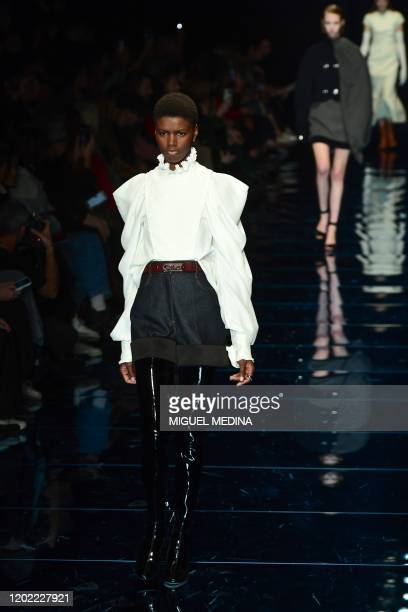 Model presents a creation for Sportmax' Women Fall - Winter 2020 fashion collection on February 21, 2020 in Milan.