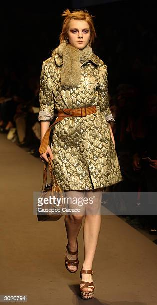 A model presents a creation for the MIU MIU Autumn/Winter 2004 collection during Milan Fashion Week February 27 2004