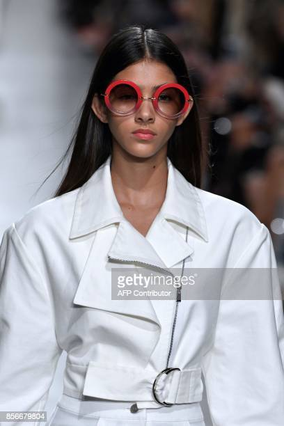 Model presents a creation for Valentin Yudashkin during the women's 2018 Spring/Summer ready-to-wear collection fashion show in Paris, on October 2,...