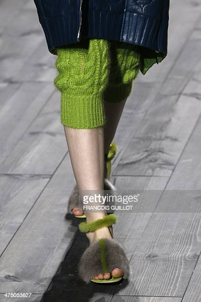 Model presents a creation for Vionnet during the 2014/2015 Autumn/Winter ready-to-wear collection fashion show, on February 26, 2014 in Paris. AFP...