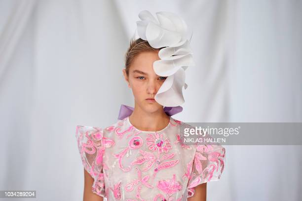 Model presents a creation from designer Delpozo during a catwalk show for the Spring/Summer 2019 collection on the third day of London Fashion Week...