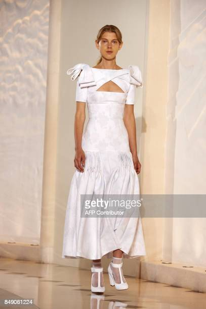 A model presents a creation from New Zealandborn designer Emilia Wickstead during a catwalk show for the Spring/Summer 2018 collection on the fourth...