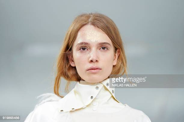 A model presents a creation from Preen by Thornton Bregazzi during their catwalk show on the third day of London Fashion Week Autumn/Winter 2018 in...