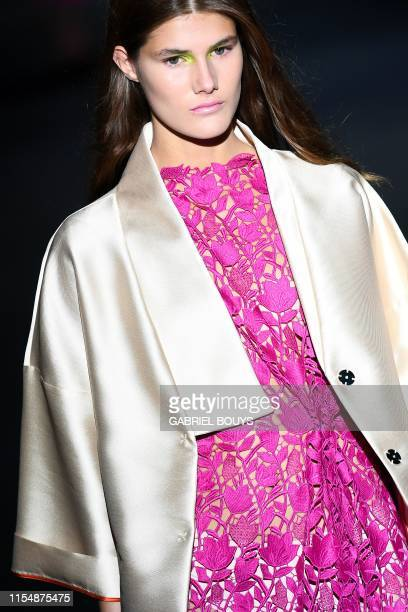 Model presents a creation from Spanish designer Ulises Merida's Spring/Summer 2020 collection during the Mercedes Benz Fashion Week in Madrid on July...