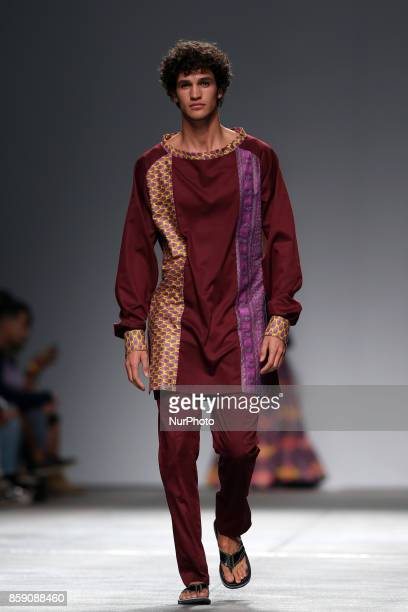 A model presents a creation from the Angolan fashion designer Nadir Tati Spring/Summer 2018 collection during the Lisbon Fashion Week Moda Lisboa at...