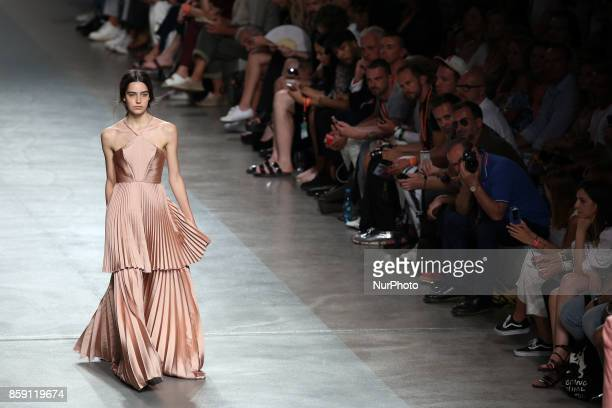 A model presents a creation from the Portuguese fashion designer Luis Carvalho Spring/Summer 2018 collection during the Lisbon Fashion Week Moda...