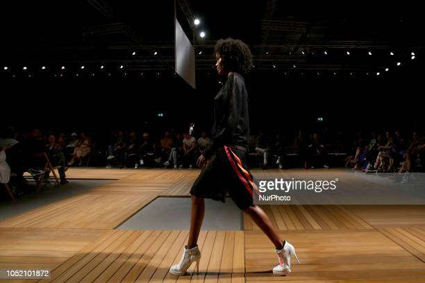 A model presents a creation from the Serbian fashion designer Aleksandar Protic Spring/Summer 2019 collection during the 3rd day of the Lisboa...
