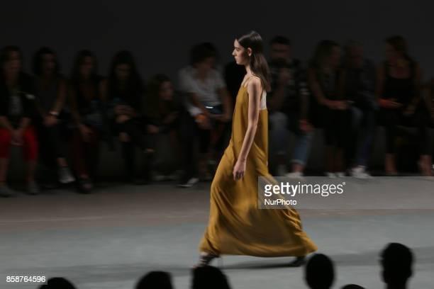 A model presents a creation from the Serbian fashion designer Aleksandar Protic Spring/Summer 2018 collection during the Lisbon Fashion Week Moda...