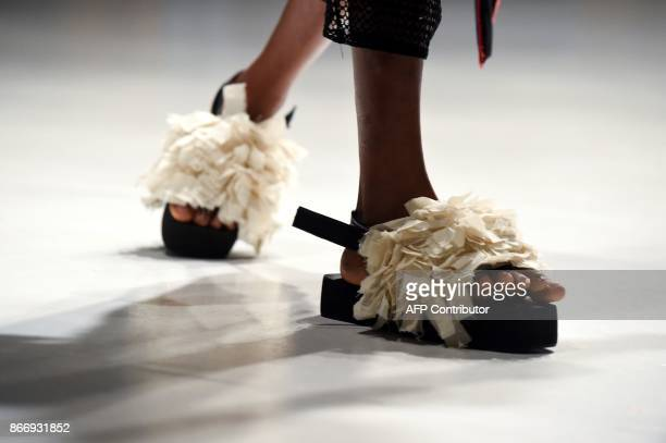 A model presents a creation Gozel Green during the Lagos Fashion and Design Week in Lagos on October 26 2017 The yearly Lagos Fashion and Design Week...