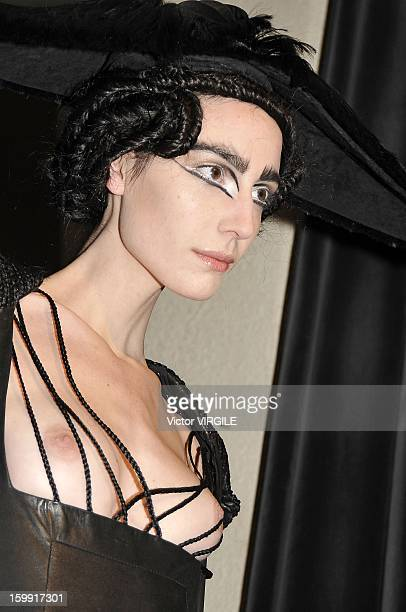A model presents a creation made with hair by Charlie Le Mindu hairdresser and designer during a 'Haute Coiffure' fashion show during Spring/Summer...
