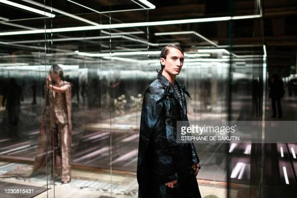 Model presents a creation of British designer Kim Jones for the Fendi's Spring-Summer 2021 collection during the Paris Haute Couture Fashion Week, in...
