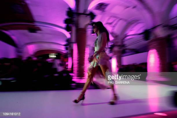 Model presents a creation of Catalan brand Custo Barcelona during the 080 Fashion Week in Barcelona on February 5, 2019.