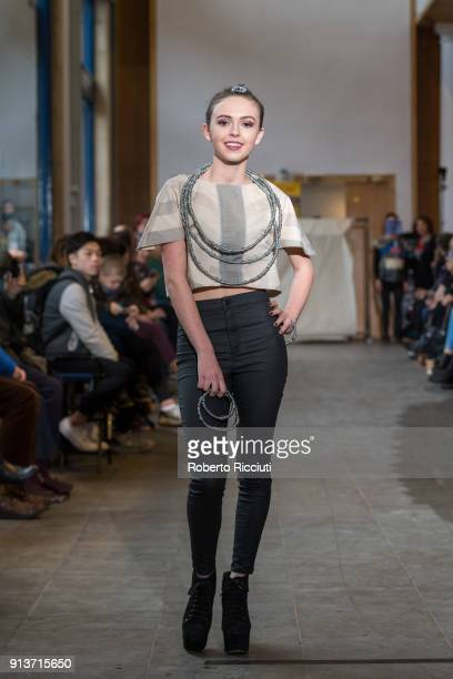 A model presents a creation of work by Textile and Fashion diploma students from Edinburgh College at the gallery floor of the City Art Centre on...