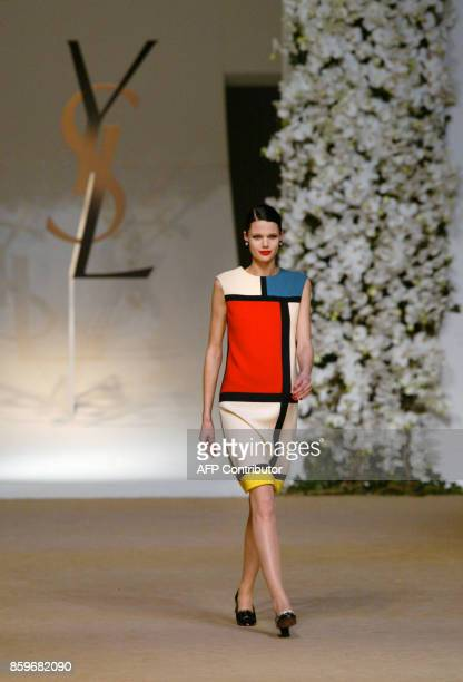 Model presents a dresse by French designer Yves saintLaurent inspired in 1965 by the work of Dutch painter Piet Mondrian 22 January 2002 during...