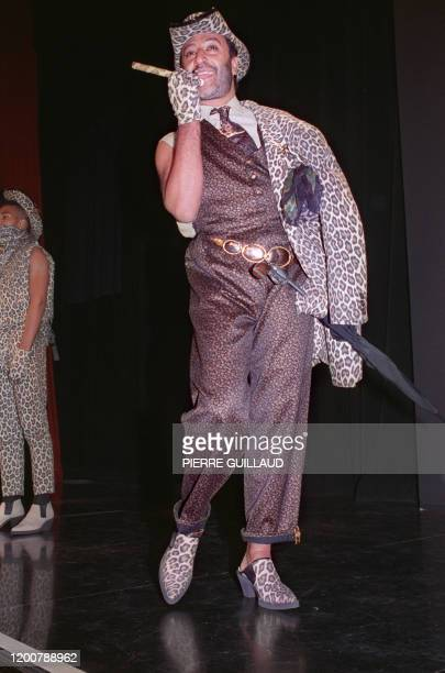 """Model presents a """"Macadam Cow Boy"""" style printed panther outfit by French designer Jean-Paul Gaultier, 03 Septembre 1988, in Paris, during the 1989..."""