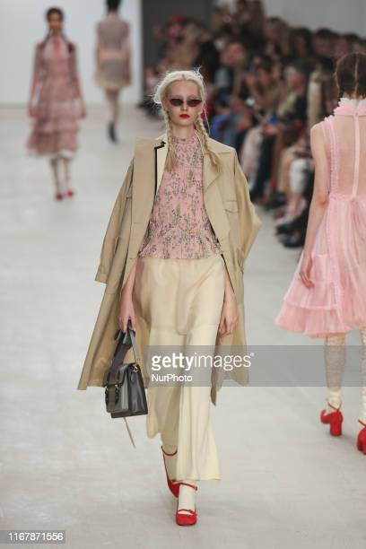 A model presents a new Spring/Summer 2020 BORA AKSU collection during London Fashion Weak in the British Fashion Council show space in London on the...