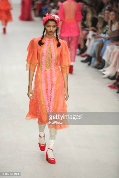 Model presents a new Spring/Summer 2020 BORA AKSU collection during London Fashion Weak in the British Fashion Council show space in London on the...