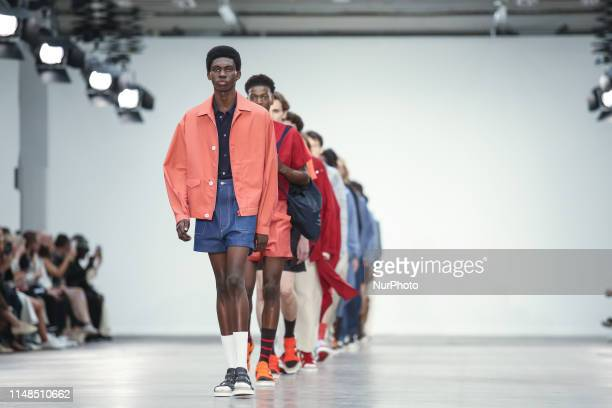Model presents a new Spring/Summer 2020 JORDANLUCA collection during London Fashion Weak Mens in the old Trumans Brewery show space in London on the...