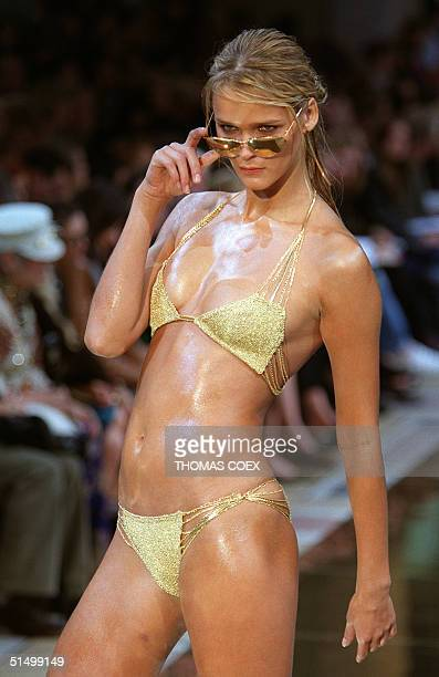 A model presents a swimsuit by Stella Mc Cartney for the Chloe SpringSummer 2000 readytowear collection 06 October 1999 at the Petit Palais museum in...